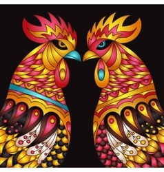colorful roosters - the zodiac symbol of vector image vector image
