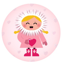 Cute Eskimo girl holding heart isolated on white vector image