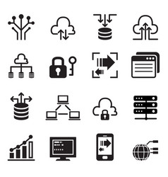 Data technology icons set vector