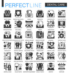 Dental care black mini concept icons and vector