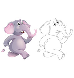 Doodle animal for elephant vector