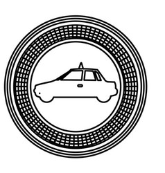 Figure emblem taxi side car icon vector