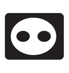 Flat black electric socket icon vector
