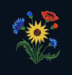 floral embroidery with colorful flowers on black vector image
