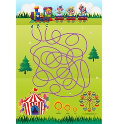 Game template with clowns and circus vector image