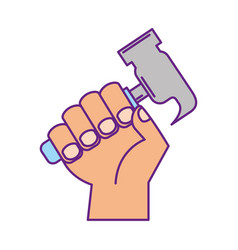hand human with hammer tool vector image vector image