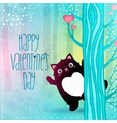 Happy Valentines Day card with cat vector image vector image