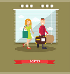 Hotel porter in flat style vector
