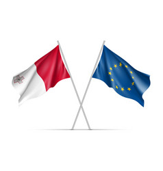 Malta and european union waving flags vector