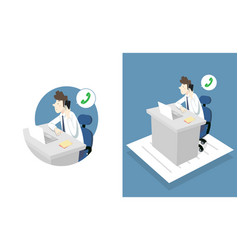 office man work overtime vector image
