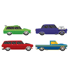 Old school car set flat vector