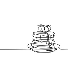 pancakes with strawberry jam on the plate vector image vector image