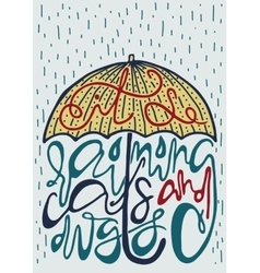 Poster with silhouette of umbrella and lettering vector
