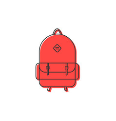 Red backpack thin line icon vector