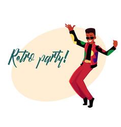 retro disco party invitation dancing black man in vector image vector image