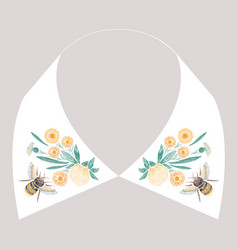 satin stitch embroidery design with yellow flowers vector image vector image