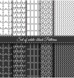 Set of black white Pattern6 vector image vector image