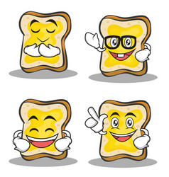Set of bread character cartoon vector