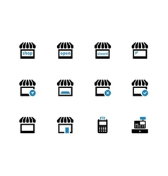 Shop duotone icons on white background vector image