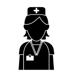 Silhouette nurse staff care clinic uniform hat vector