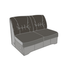 Sofa black furniture isolated modern comfort flat vector