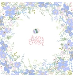 Spring frame with contour blue flowers and herbs vector image vector image