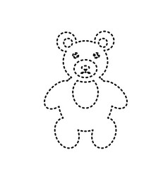 teddy bear sign black dashed vector image