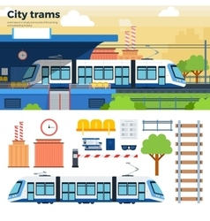 Tram on the street in city vector