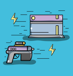 videogame console with gun and energy symbol vector image