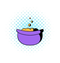 Witch cauldron with potion icon comics style vector