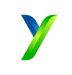 Y letter leaves eco logo volume icon vector image vector image