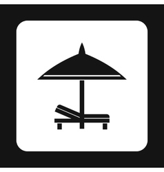 Bench and umbrella icon simple style vector