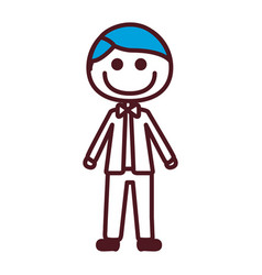 hand drawing silhouette caricature man blue hair vector image