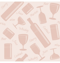 Seamless pattern with drinks and text vector
