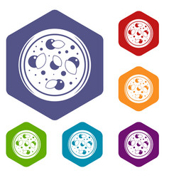 Pizza with greens icons set hexagon vector