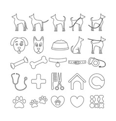 Dog set line icons pet symbols and sign vector
