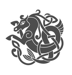 Ancient celtic mythological symbol of sea horse vector