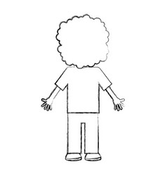 Back curly haired boy character vector