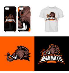 furious woolly mammoth head sport club isolated vector image