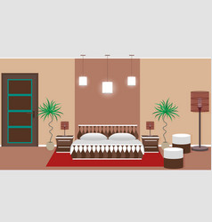 hotel bedroom interior including light equipment vector image
