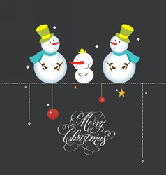 Greeting card christmas card with cute snowmen vector