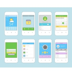 Mobile ui design flat line vector