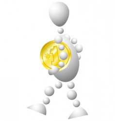 Man with golden coin vector