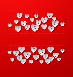 Music in hearts red background vector