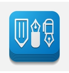 Square button pen vector