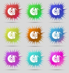 Cd or dvd icon sign nine original needle buttons vector