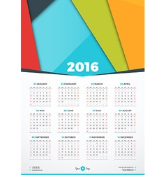 Calendar 2016 design template week starts sunday vector