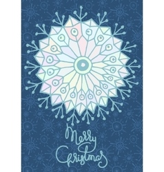 Xmas greeting card with hand drawn snowflake vector