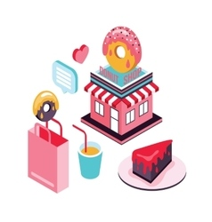 Donut shop cake dessert delicious food isometric vector