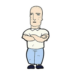 Comic cartoon annoyed bald man vector